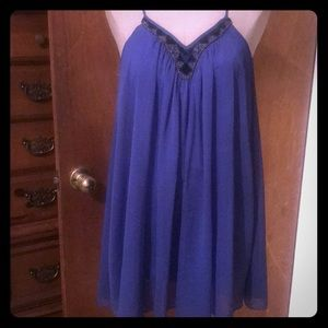 Dresses & Skirts - Express Blue Baby Doll Dress with Beaded V neck